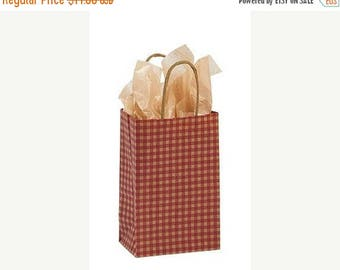 STOREWIDE SALE 25 pack Red and Kraft Gingham Recycled 5.25 x 3.5 x 8.5 inch Paper Handle Bags