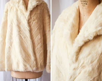 Bianca | Vintage 1960's Fur Cape Genuine White Rabbit 60s Evening Coat with Collar Satin Lining Made in Hong Kong Winter White Vintage Glam