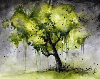 Landscape painting 8x12in, A4 - canvas sheet - green tree