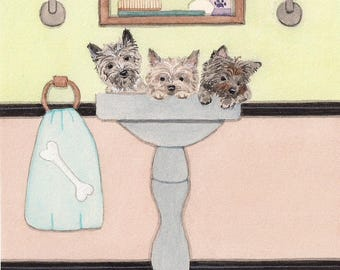 Cairn terrier puppies fill sink at bath time / Lynch signed folk art print