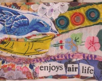 enjoys air life BIRD & FLOWERS -  Original Fabric Folk Art Collage Assemblage - Recycled Materials -  myBonny