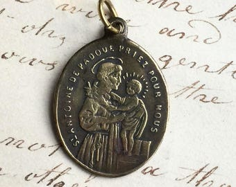 Antique French St Anthony / Guardian Angel Medal
