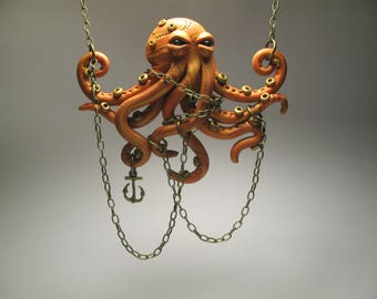 Orange Octopus Necklace - Polymer Clay Jewelry - Octopus Sculpture