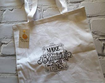 Make Beautiful Things - Craft Themed Embroidered Tote Bag - knitting-crochet- sewing-paper crafting-photograpy-needlearts
