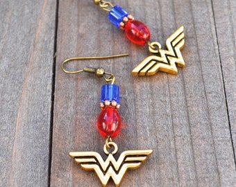 Wonder Woman Earrings  Superhero Style Gold Comic Charms Blue & Red Glass Bead Justice League Fans Megacon Comic Book Lover Earrings