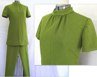 Vintage 1970's Avocado Green Double Knit Pantsuit, Modern Size 8, Small
