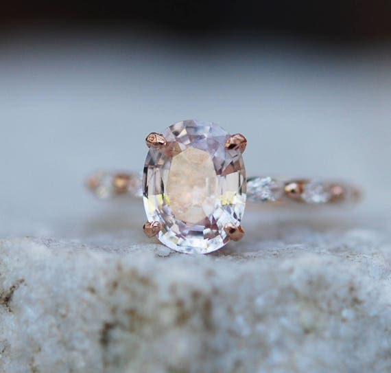 Sapphire engagement rings by eidelprecious engagement ring 240000 oval rose gold ring blake lively ring engagement ring peach sapphire engagement ring one of a junglespirit Images