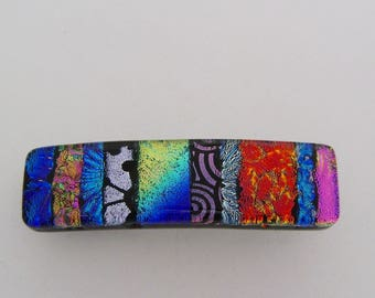 Very Small dichroic glass hair barrette.