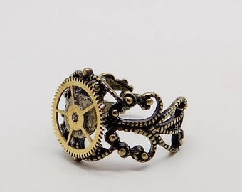 Steampunk jewelry Steampunk adjustable gear ring.