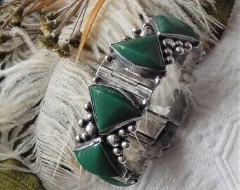 Vintage Mexico Sterling Silver Dark Green Jade Wide Hinged Bracelet