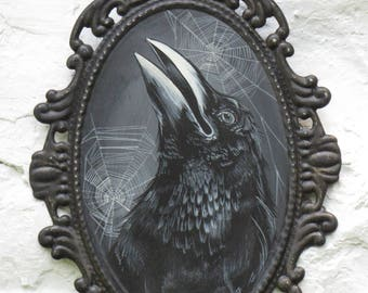 Hand Painted Vintage Inspired HALLOWEEN CROW Painting on Victorian Gothic Metal