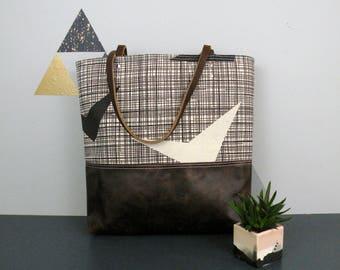 Skinny Laminx Bag, leather bottom tote, carryall bag, everyday purse, Beach bag, Black and white travel bag, canvas tote bag, Tote handbag