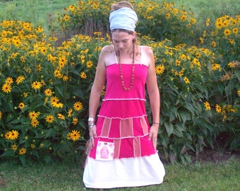 ZEN Organic Cotton and Hemp Ecofriendly Gypsy Patchwork Hippie Adjustable Stretchy Tank Top Dress with Pocket