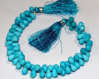 "50% Off Sale Full 8"" Strand Finest Quality Turquoise Micro Faceted Tear Drop Briolettes Size 8x5 - 9x5mm approx Gorgeous Beads Great Price"