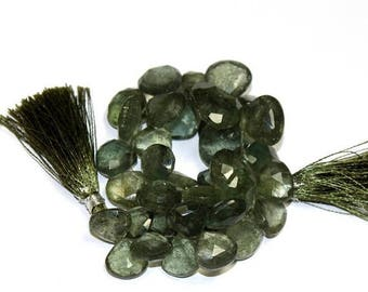 50% Off Sale 1/2 Strand Natural Moss Aquamarine Faceted Heart Briolettes Size 12x12 - 16x16 mm, Semiprecious Beads, Gemstone Briolette Beads