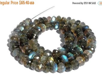 50% Off Sale Full 14 Inches Blue Flashy Labradorite Micro Faceted Rondelles Size - 6-8mm Finest Quality Wholesale Price
