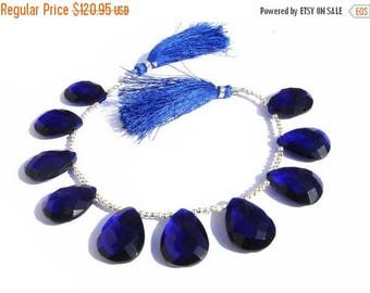 50% Off Sale 8 Inches -  Finest Quality Dark Blue Quartz Faceted Pear Briolettes Size 21x16mm Approx Beautiful Brios Wholesale Price