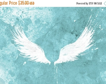 50% Off Summer Sale - White Wings (turquoise) - 12x18