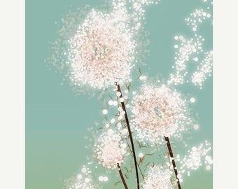 50% Off Summer Sale - Dandelion Art Print - Perennial Moment - 12x18