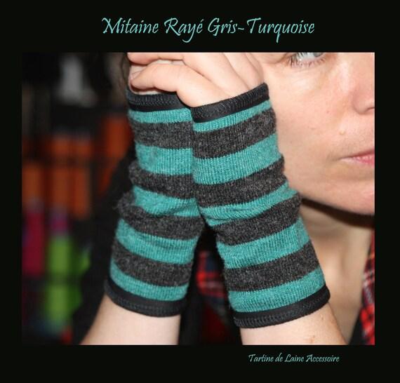 Short glove gray Heather/Turquoise stripe. Mixed winter mitten