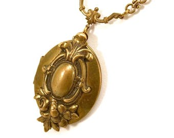 Long Victorian inspired locket necklace
