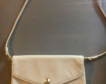 Vintage genuine leather handbag with detachable shoulder strap