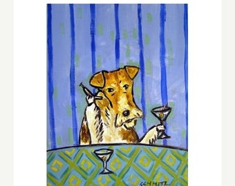 20 % off storewide Fox Terrier Having a Martini Dog Art Print