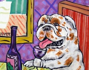 20% off storewide Bulldog at the wine bar dog art print 11x14 signed