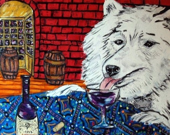 20% off samoyed wine dog art tile coaster  JSCHMETZ modern abstract folk pop art AMERICAN ART gift