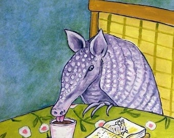 20% off Armadillo at the Coffee Shop Animal Art Tile