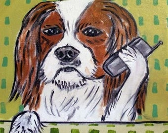 20% off Cavalier King Charles Spaniel Talking on a cell phone Dog Art Tile