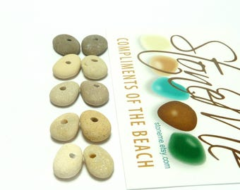 Genuine Drilled Beach Sea STONE PAIRS Spacers Donuts Focals Jewelry Beads Natural Pebbles Cairns Charms Rustic River Rock Bedrock