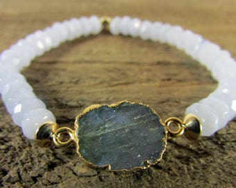 Labradorite & Blue Lace Agate Gemstone Bracelet, Stretch Bracelet, Gemstone Jewelry