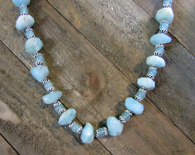Aquamarine Nugget Necklace, Baby Blue Chunky Gemstone Necklace