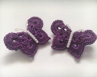 Purple and White, Butterfly Barrettes, Crochet barrettes, Hair clip, Hair Accessory, Crochet, Set of 2