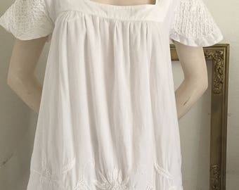 Vintage bohemian hippie white embroidered cotton tunic dress L