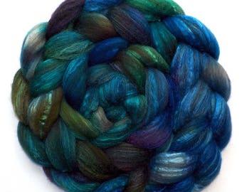 BFL/Silk Combed Top Roving Custom Blend, Mermaid, 5.3 oz.