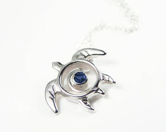 Turtle Necklace Sapphire - Blue Sapphire Turtle Pendant - September Birthstone Necklace - Sapphire Necklace - Honu Jewelry- Honu Petroglyph
