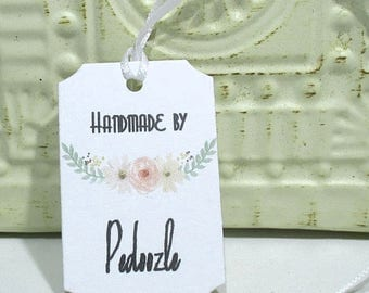 Handmade Tags -  Set of 20 - Personalized - Store tags - Pastel flowers  - Handmade by - Hang tags - Watercolor flowers