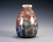 Ceramic Vase - Red, Green - Crystalline Glaze on High-Fired Porcelain - Hand-Made Pottery - FREE SHIPPING - #M-689