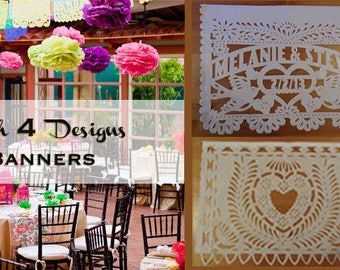 Papel Picado (15 strands) Personalized with alternating designs, Amor, Birds, Heart, Bird Circle - Fiesta Wedding - Mexican Tissue Paper
