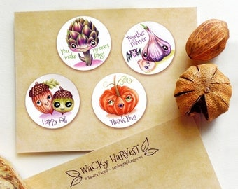 Wacky Harvest Stickers Set of 12 Seals by Sandra Vargas - Thanksgiving Stickers - Fall Stickers