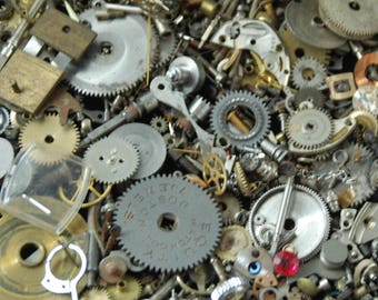 1 oz 28 grams Vintage Watch movements parts cogs gears Steampunk Z 91