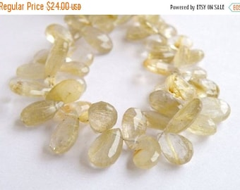 Deep Discount Sale Rutilated Quartz Briolette Gemstone Golden Faceted Pear Teardrop 11 to 11.5mm 11 beads