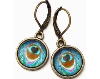 Turquoise Feather Glass Photo Earrings  Nickel Safe