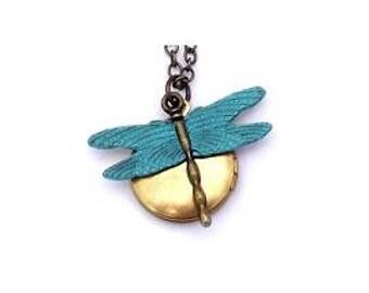 "Dragonfly Locket 20"" Antiqued Brass Chain"