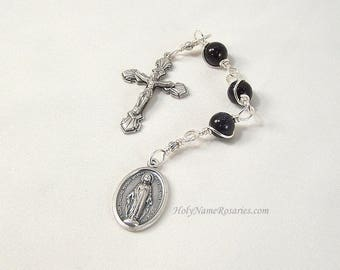 Reserved for BKP53 Three Hail Mary Devotion Chaplet Miraculous Medal Blue Goldstone Unbreakable