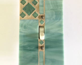 Decorative Switch Plates, Green Light Switch Cover, Mosaic Switcn Plate, Glass Switch Plates, Decorative Wall Switch Plates, Glass Art, 8702