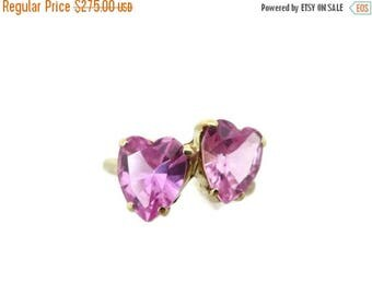 OnSale Pink Sapphire Double Heart Ring - Vintage, 14k Yellow Gold