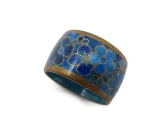 Cloisonne Ring - Wide Band Ring Blue Floral Enamel Size 5.5 Stacking
